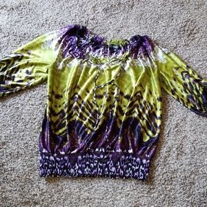 Allen B Silky Purple Green Blouse XL